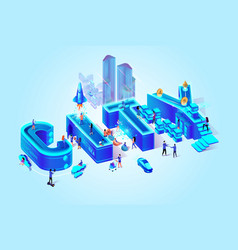 3d isometric word city neon blue color vector