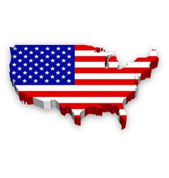 3d usa map flag vector image