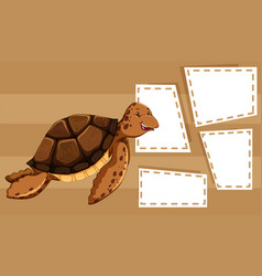 a sea turtle on blank template vector image