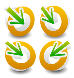 arrow pointing into a circle icon for center vector image