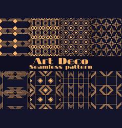 art deco set seamless pattern retro vector image