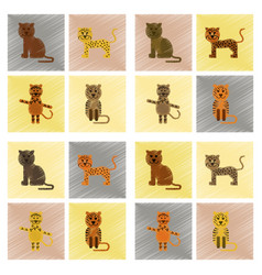 Assembly flat shading style icons cartoon panther vector