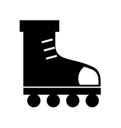 Black icon roller skates vector