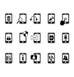 black icons for mobile phone vector image