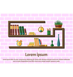 Bookshelves with colorful books vector