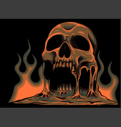burning skull with flames vector image