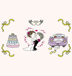 Cake with candles bridal car bride and groom vector