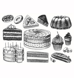 cakes and cream tarts fruit desserts and muffins vector image