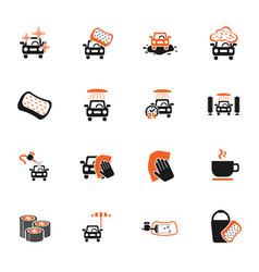 car wash service icon set vector image