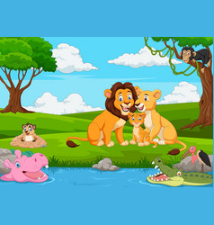 Cartoon lion family in the jungle vector