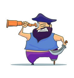 Cartoon one-legged Pirate with Spyglass vector