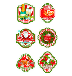 christmas and new year holiday badge design vector image