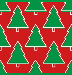 christmas tree seamless pattern in red and green vector image