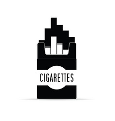 Cigarettes pack box in black and white vector