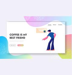 coffee break website landing page young man vector image