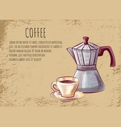coffeehouse poster moka pot for brewing espresso vector image