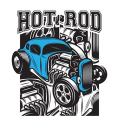 color poster in retro style with hot rod vector image