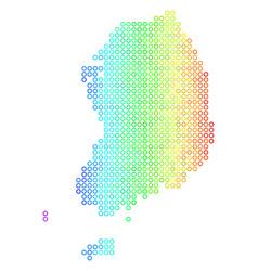 Colored cirle dot south korea map vector