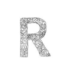 coloring book ornamental alphabet letter r font vector image
