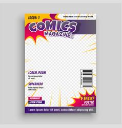 Comic magazine cover template design vector