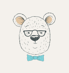 Cute bear head vector