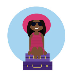 cute tanned girl traveler sitting on the luggage vector image