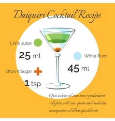 Daiquiri cocktail receipt poster vector image