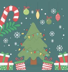 decorative tree lights balls gifts celebration vector image