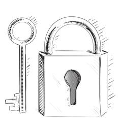 Door lock and key vector image