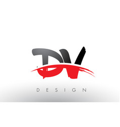 Dv d v brush logo letters with red and black vector