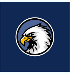 Eagle head with blue background logo design vector