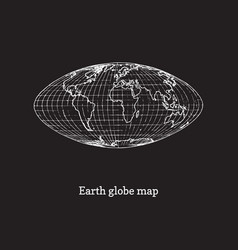 earth globe map on black background vector image