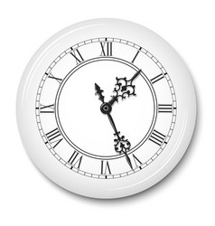 elegant wall clock with roman numerals in white vector image