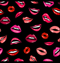 female comic lips seamless pattern template vector image