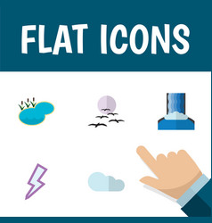 Flat icon bio set of pond overcast cascade and vector