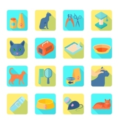 Flat icons cat set slant shadow vector