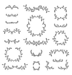 Floral frame border wreath dividers calligraphic vector