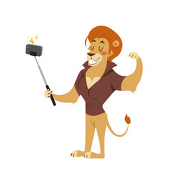 Funny picture lion photographer mama person take vector