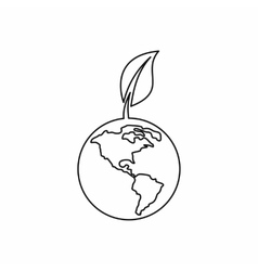 Globe with leaf icon outline style vector image
