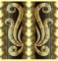 gold modern 3d greek key meanders seamless vector image