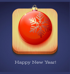 Greeting card happy new year red christmas ball vector
