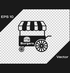 Grey fast street food cart with awning icon vector