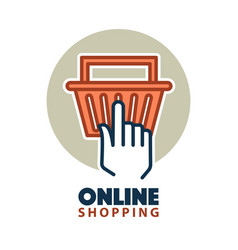 hand clicking on a basket vector image