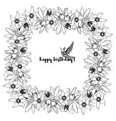 hand drawn vintage floral square frame vector image