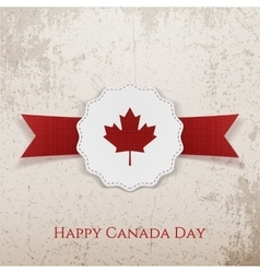Happy Canada Day festive Tag with Type and Ribbon vector image