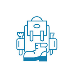 hiking equipment linear icon concept hiking vector image