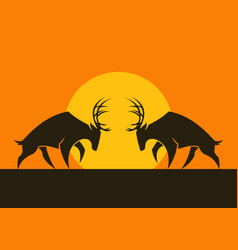 horned deers silhouettes against the sun vector image