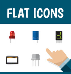 icon flat electronics set of receiver unit vector image