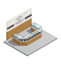 Jewelry store isometric interior vector