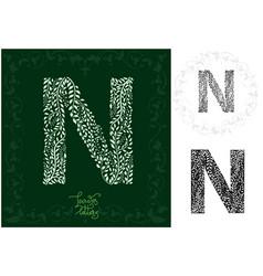 leaves alphabet letter n vector image